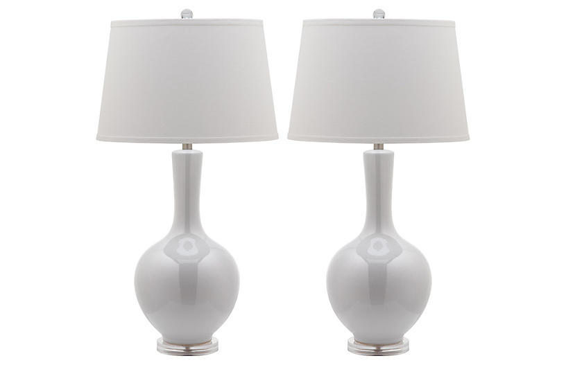S/2 Blanche Gourd Table Lamps, White