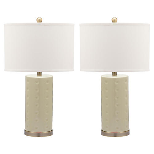 S/2 Roxanne Table Lamps, Eggshell