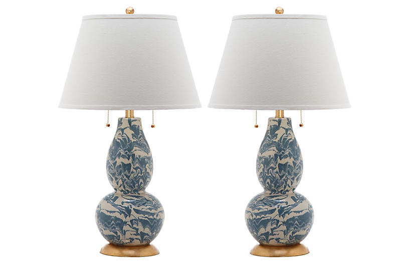 Genevieve Swirl Table Lamp Set, Blue