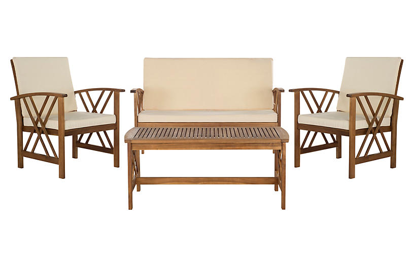 Fontana 4-Pc Lounge Set, Beige/Natural