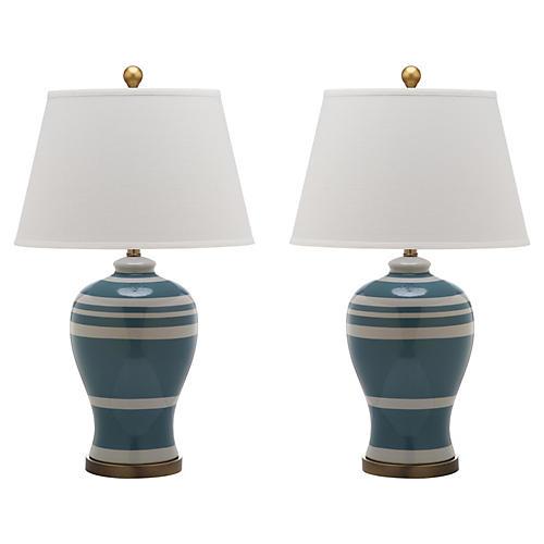 S/2 Beckford Ginger Jar Table Lamps, Blue