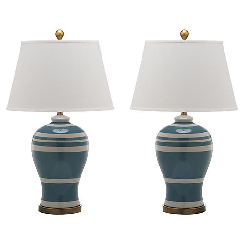 S/2 Beckford Ginger Jar Table Lamps, Blue