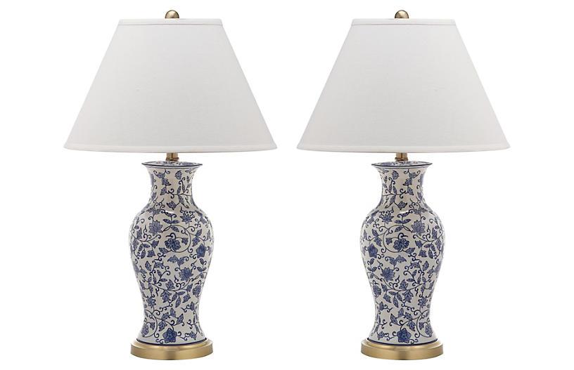 Beijing Floral Lamp Set, White/Blue
