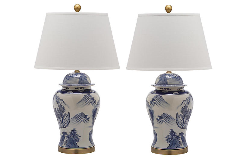 S/2 Shanghai Table Lamps, Blue/White