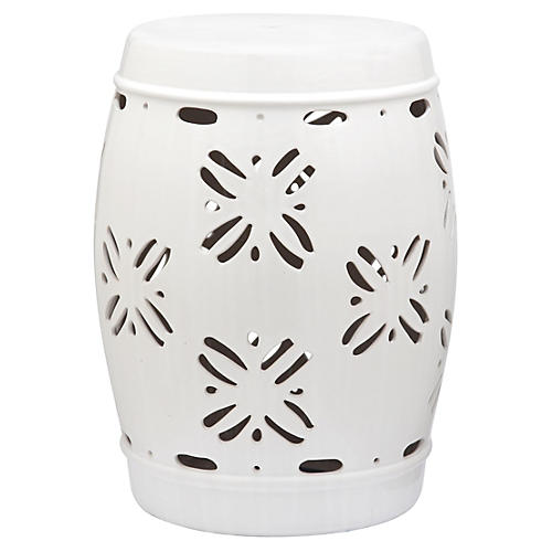 sally garden stool white