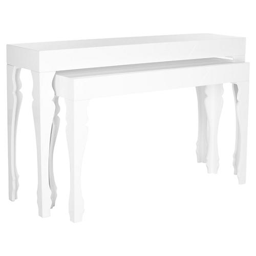 Catherine Nesting Console Tables, White