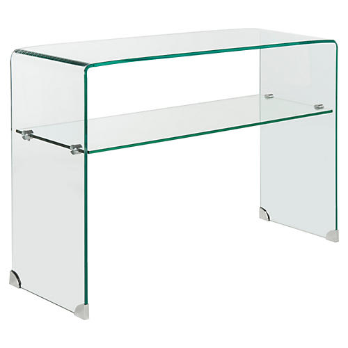 "Ella 43"" 2-Shelf Glass Console, Clear"