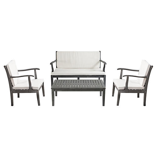Henry 4-Piece Outdoor Set, Gray/White