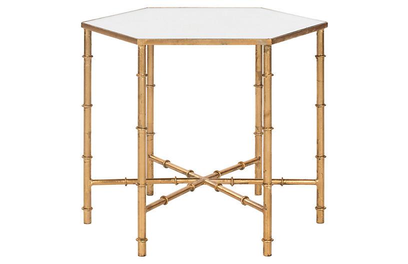 Ashton Side Table, Gold/Mirror