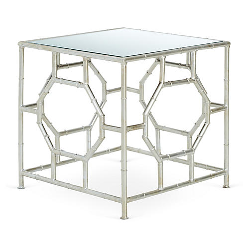 Carrie Side Table, Silver/Mirrored