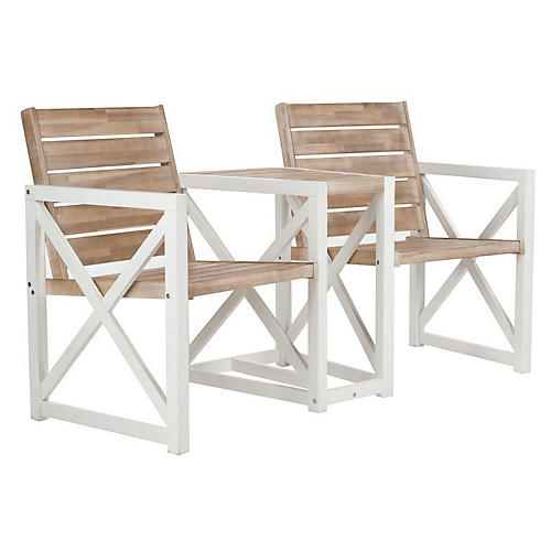 Outdoor Stratford Two-Seat Bench, Oak