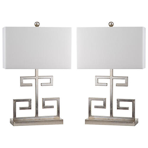 S/2 Greek Key Table Lamps, Silver