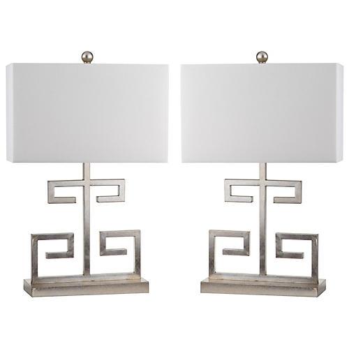 S/2 Greek Key Table Lamps, Silver