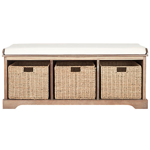 Ada 3-Basket Storage Bench, White