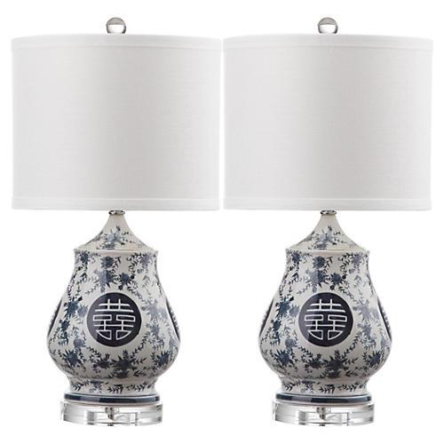 S/2 Doutzen Table Lamps, Blue/White