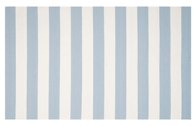 Severine Flat-Weave Rug, Sky Blue
