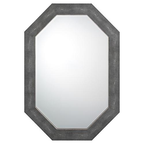 "Turley 34""x47"" Shagreen Oversize Mirror, Black"