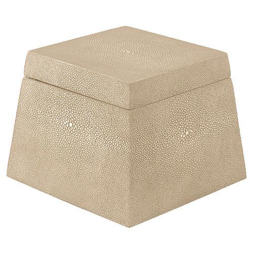 Shagreen-Style Birdie Box, Beige