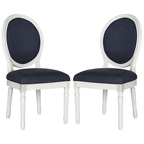 Navy Linen Side Chairs, Pair