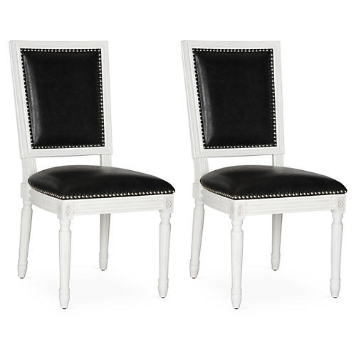 Black Lucy Side Chairs, Pair