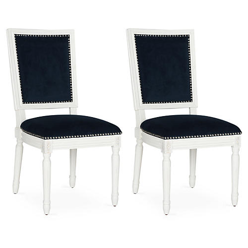 Navy Velvet Side Chairs, Pair