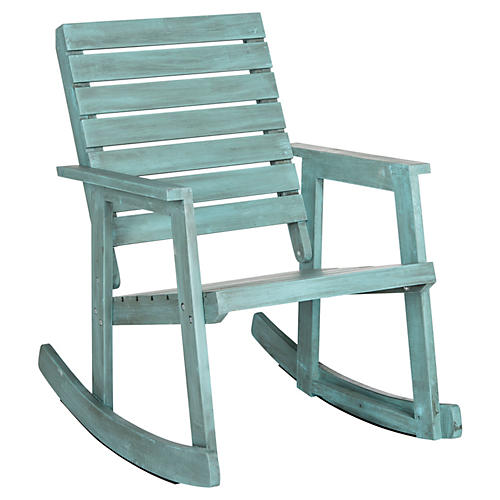 Outdoor Lily Rose Rocking Chair, Aqua