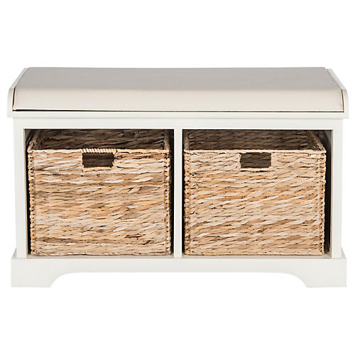Candela Storage Bench, White