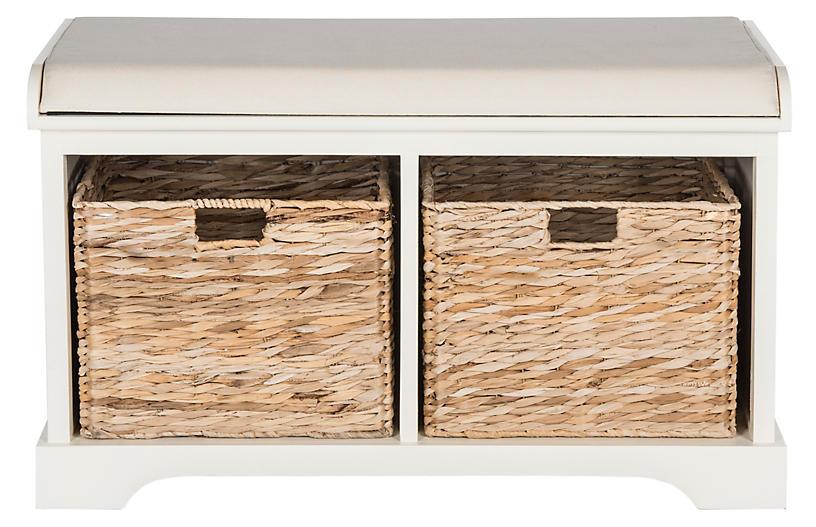 Candela Storage Bench, White