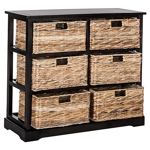 Kera 6-Basket Storage Unit, Black