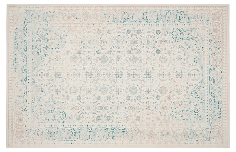 Nadette Rug, Turquoise/Ivory