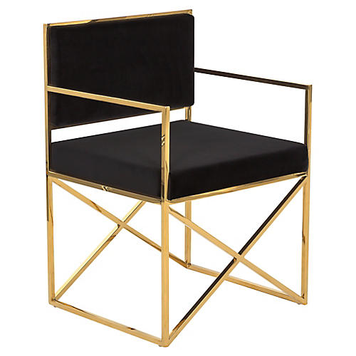 Walsh Armchair, Black/Gold