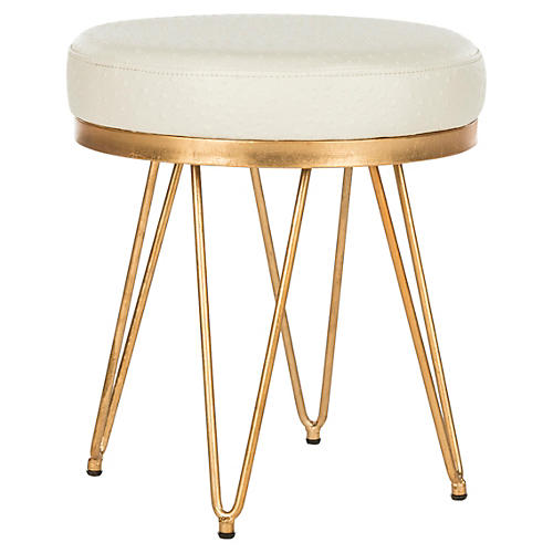 Oslo Round Stool, Cream