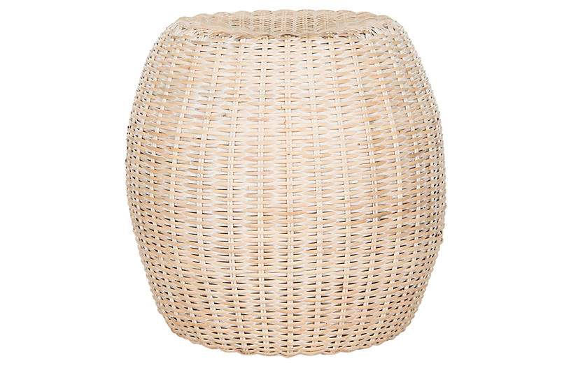 Lena Rattan Side Table - Tan