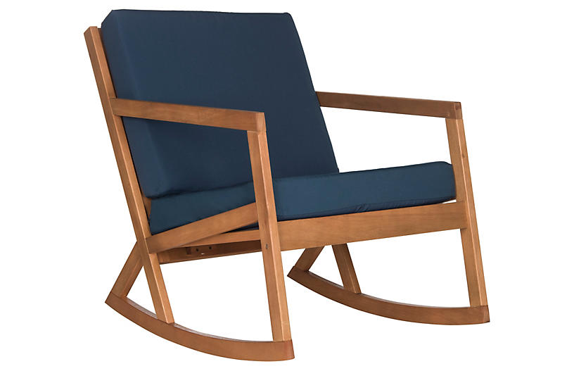 Lindsey Rocking Chair, Navy/Natural