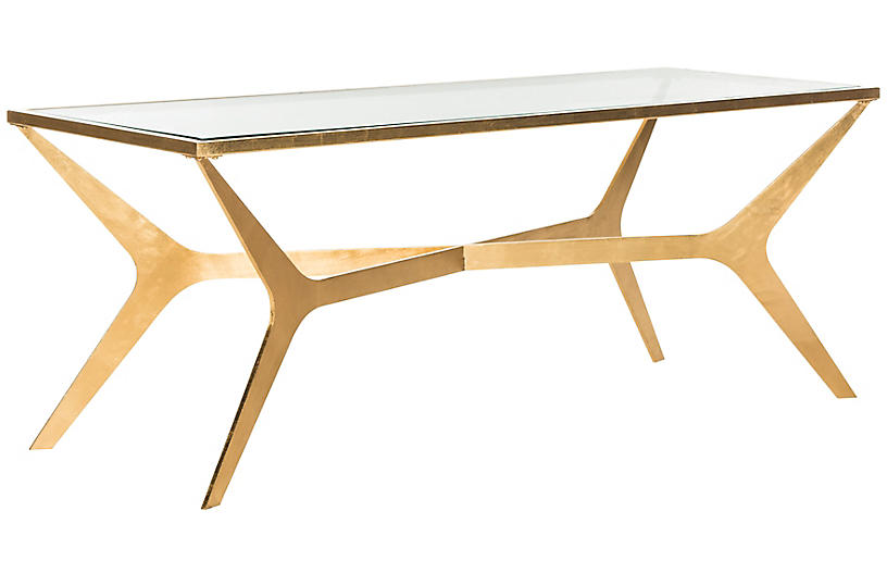 Edythe Coffee Table, Gold Leaf