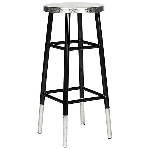 Lacie Silver-Dipped Barstool, Black