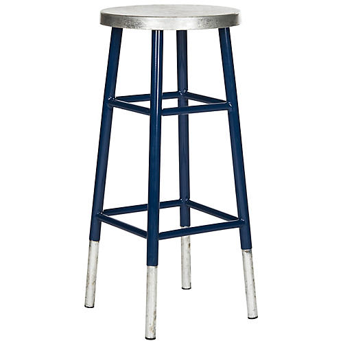 Lacie Silver-Dipped Barstool, Navy