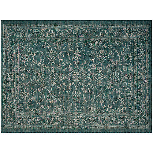 Telesto Outdoor Rug, Turquoise/Light Gray