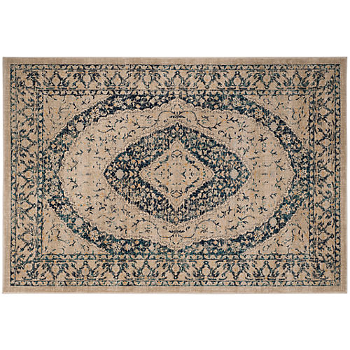 Crickett Rug, Beige/Navy