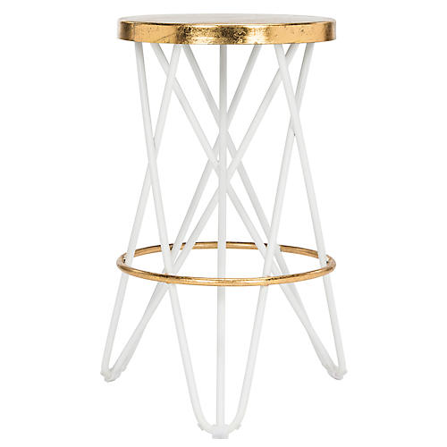 Devin Counter Stool, White/Gold
