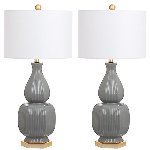 S/2 Abels Table Lamps, Gray