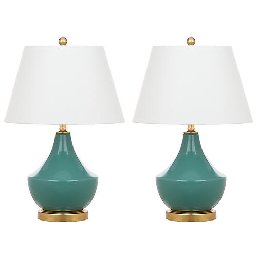 S/2 Cadlie Table Lamps, Green