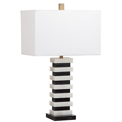 Fenimore Table Lamp, Black/White