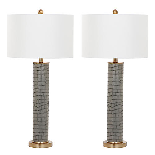 S/2 Carfora Table Lamps, Gray