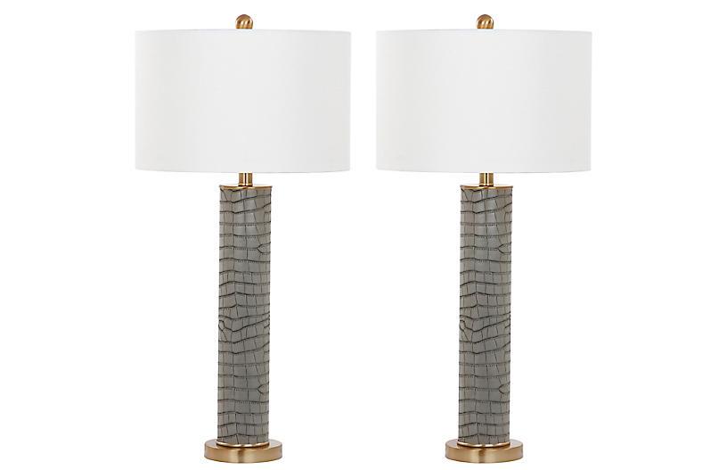 S/2 Cara Table Lamps, Gray