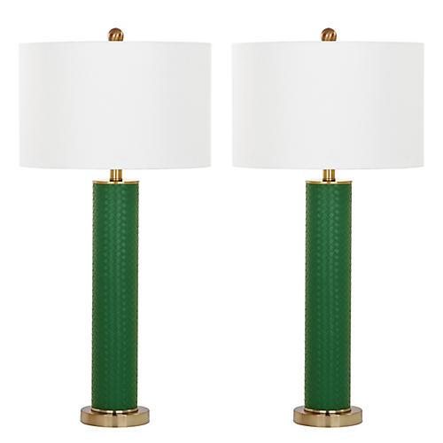 S/2 Carfora Table Lamps, Dark Green