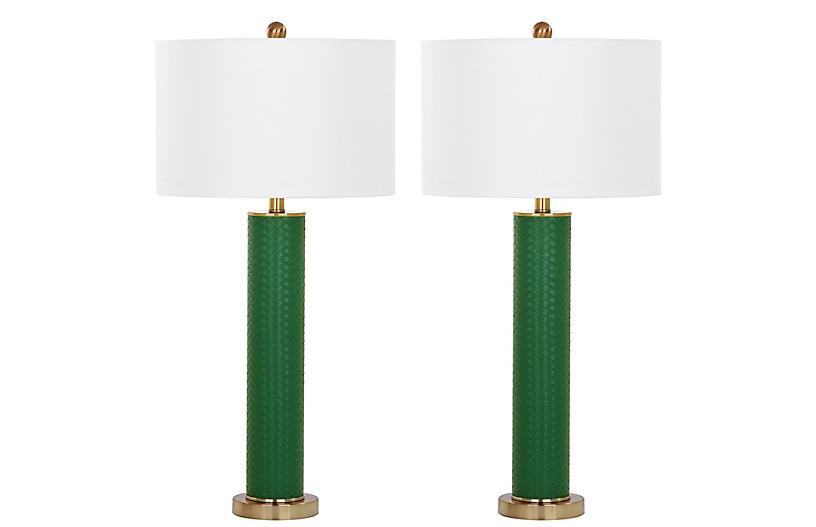 S/2 Cara Table Lamps, Dark Green