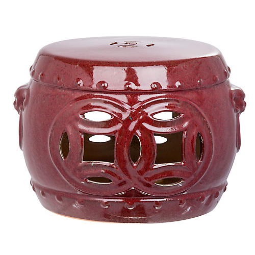 Mei Stool, Antiqued Red