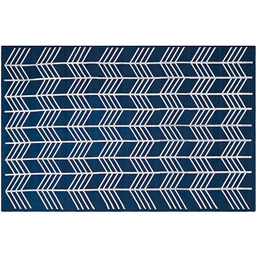 Derwent Flat-Weave Rug, Navy/White