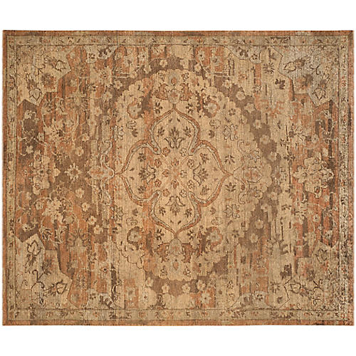 Erie Hand-Knotted Rug, Gold/Rose